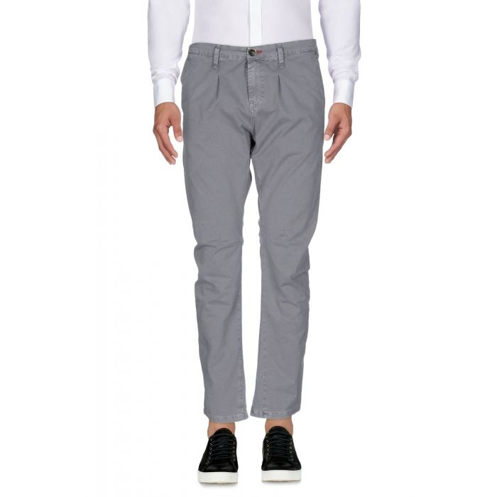 Image for Grey cotton blend mid-rise trousers