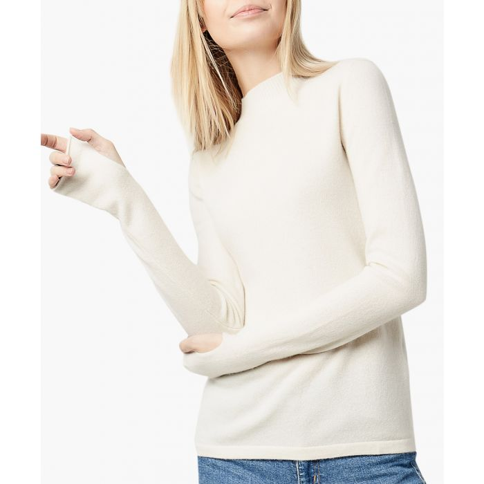 Image for Cream pure cashmere thumb-hole jumper
