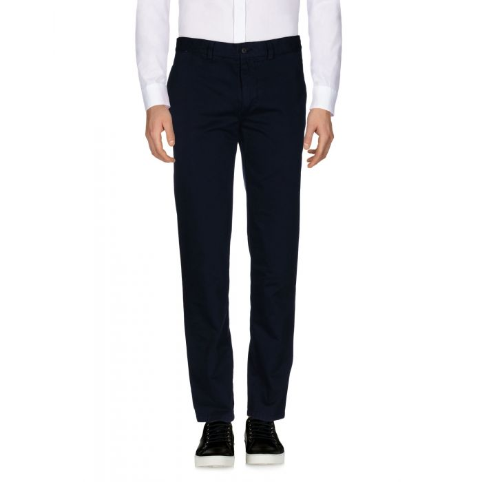 Image for Blue mid-rise cotton-gabardine tapered trousers