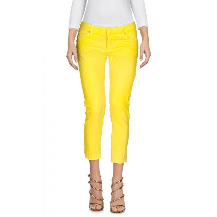 Image for Yellow cotton denim capri pants