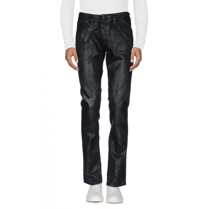 Image for Black cotton denim mid-rise trousers
