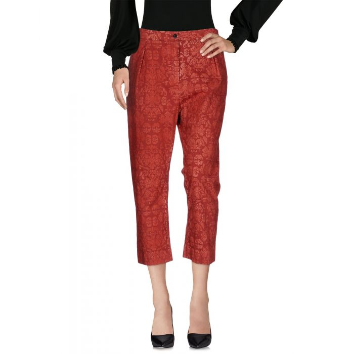Image for Brick red cotton mid-rise trousers