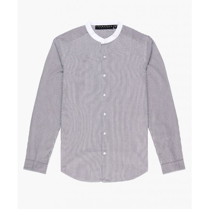 Image for Grandad collar skinny striped shirt