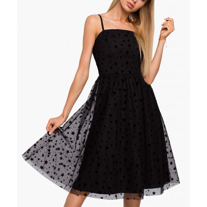Image for Black star appliqué tulle dress