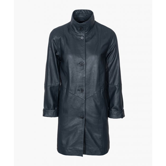 Image for Womens navy high collar 5-button coat