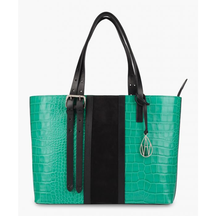 Image for Stripe Dean emerald and black leather tote