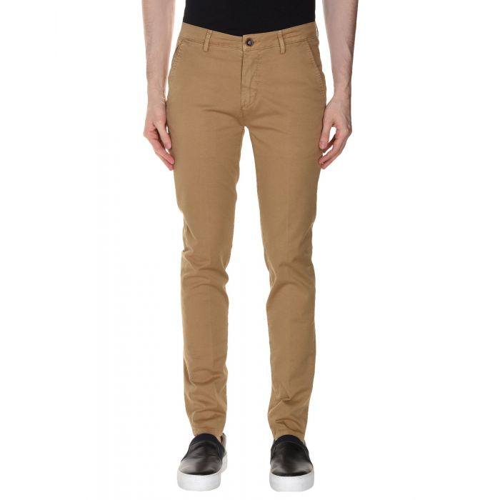 Image for Camel cotton twill mid-rise trousers