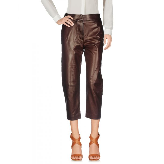 Image for Brown leather cropped trousers