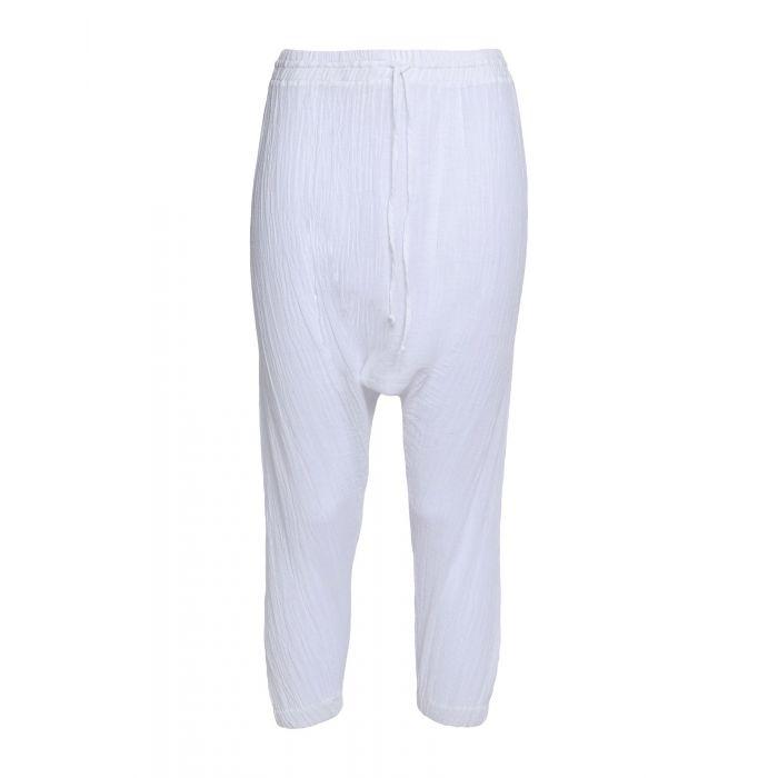 Image for Miguelina White Cotton Pantaloni capri