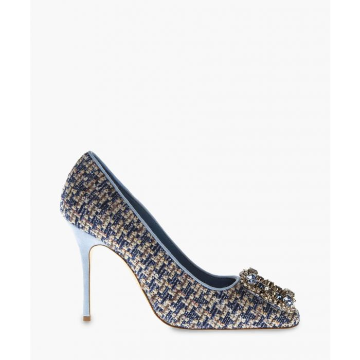 Image for Blue wool & leather suede court heels