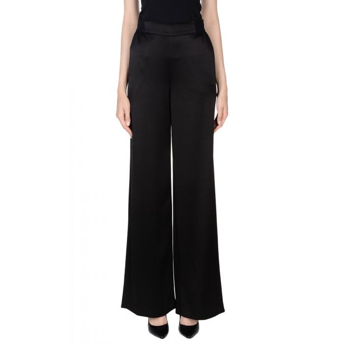 Image for Black maroon triacetate casual trousers