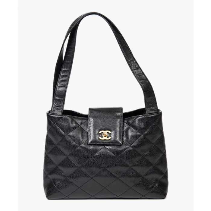Image for Black logo turn lock tote