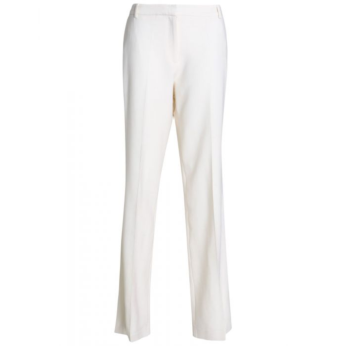Image for Ivory mid-rise straight leg crepe trousers
