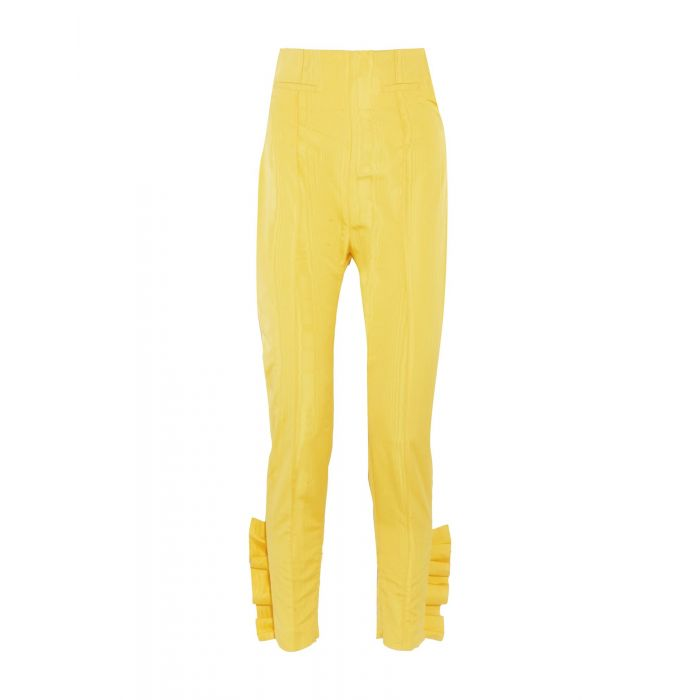Image for Yellow silk casual trousers