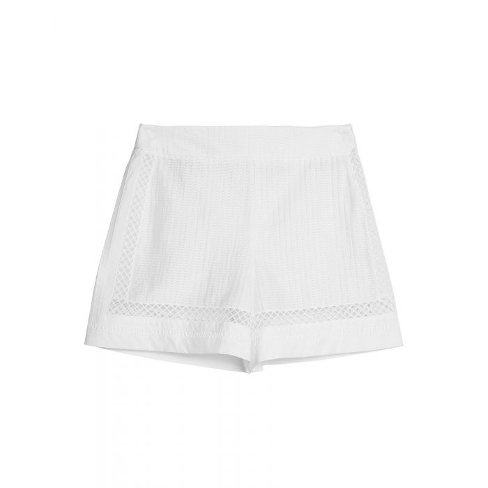 Image for White cotton blend high-rise shorts