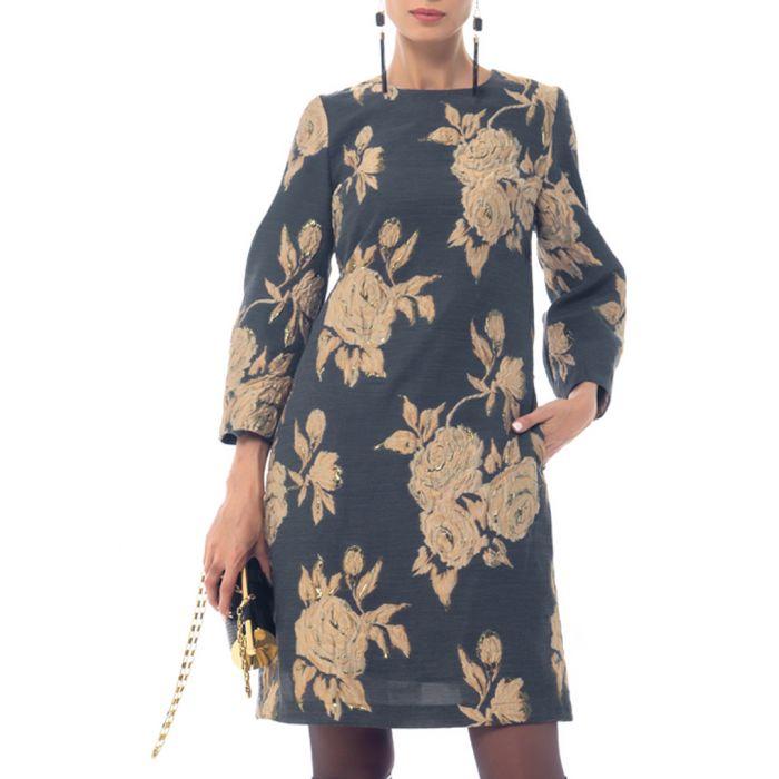 Image for Grey cotton blend floral print dress