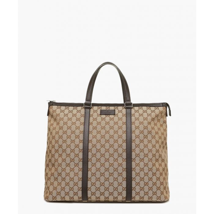 Image for Beige GG canvas and leather tote