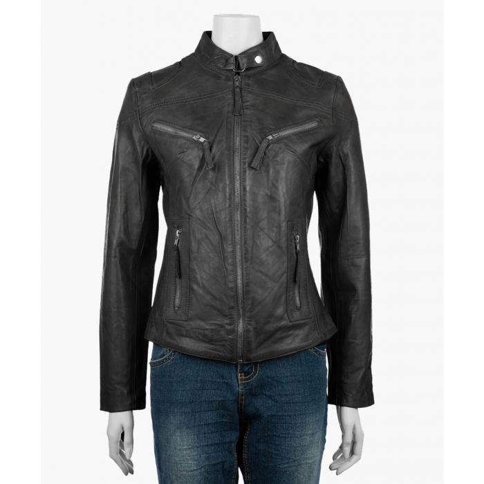 Image for Womens classic black biker jacket