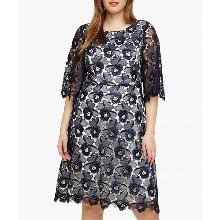 Image for Tilly navy lace detail floral dress