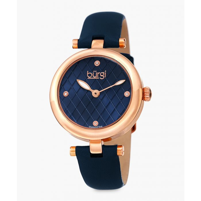 Image for Rose-gold tone and navy blue leather watch