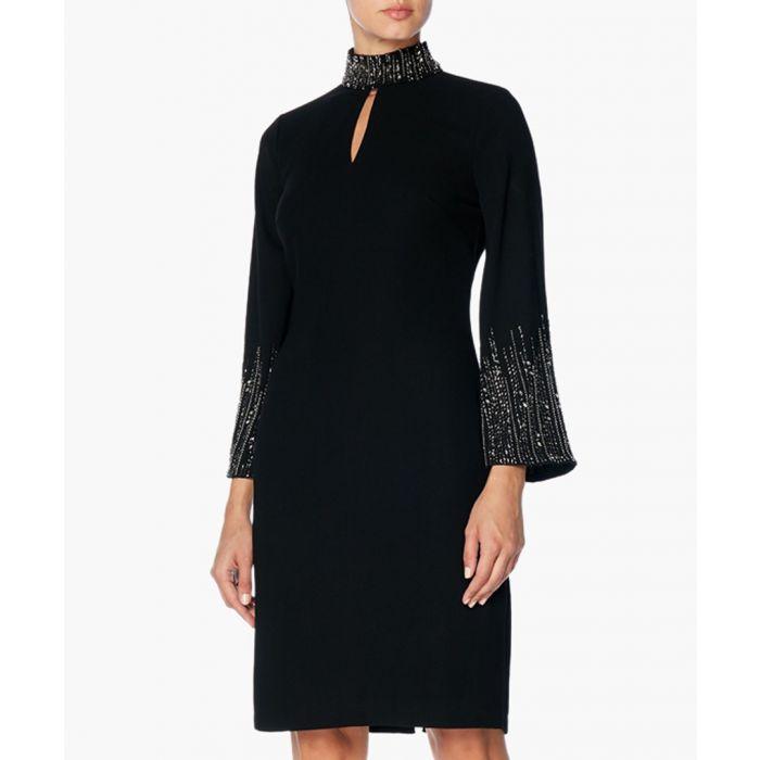 Image for Elena Black High Neck Keyhole Dress