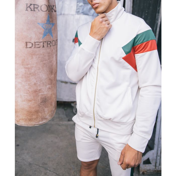 Image for Cuccio off-white stripe zip-up top