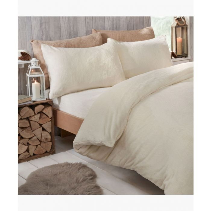 Image for Cream teddy fleece king duvet set