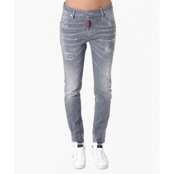 Image for Grey cotton blend distressed jeans