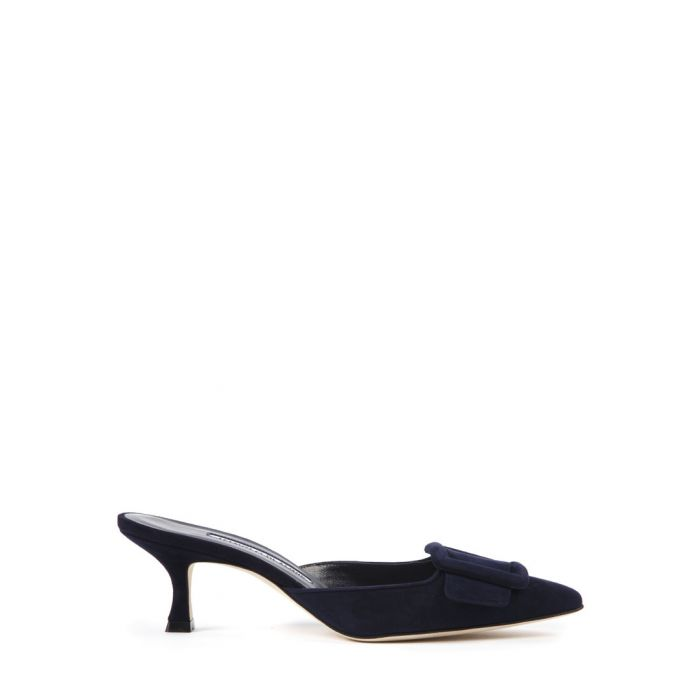 Image for Manolo Blahnik Maysale navy suede heeled mules