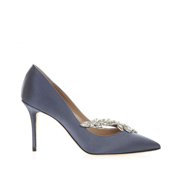 Image for Manolo Blahnik Nadira navy embellished satin heels