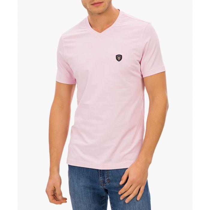 Image for Pink cotton blend logo v-neck t-shirt