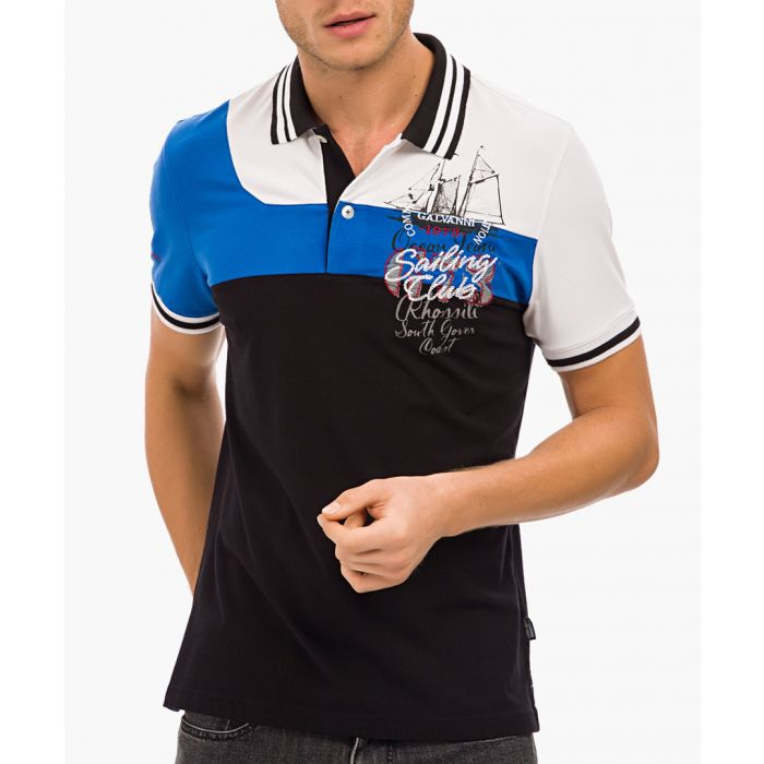 Image for Black boat graphic print polo