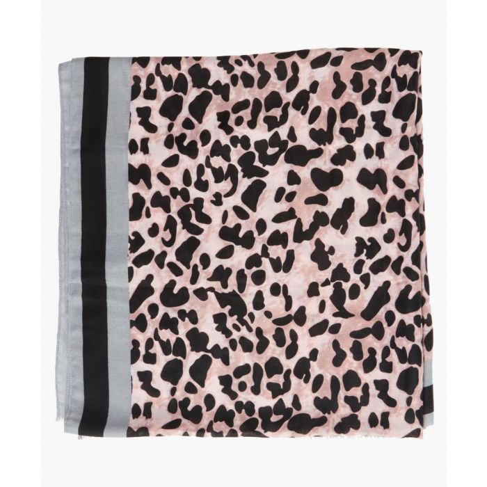 Image for Lucinder pink and grey satin leopard print scarf