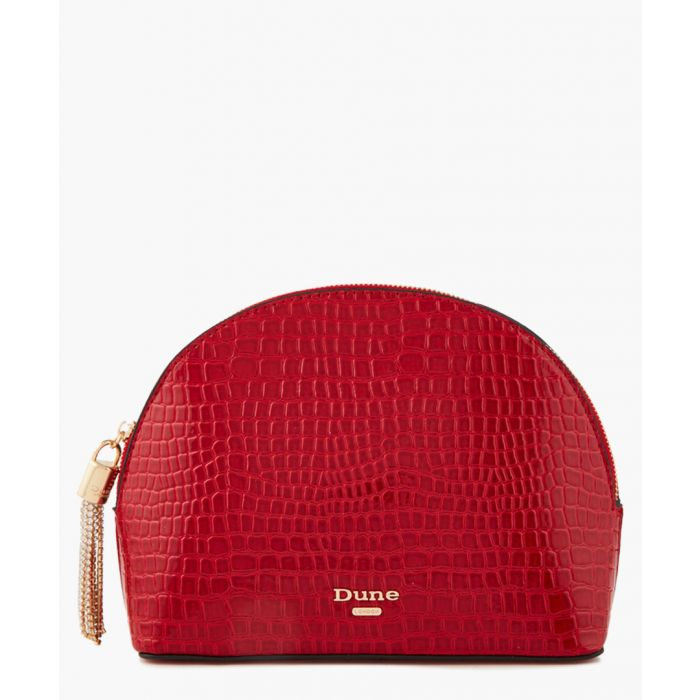 Image for Sartra red patent moc-croc zip-around bag