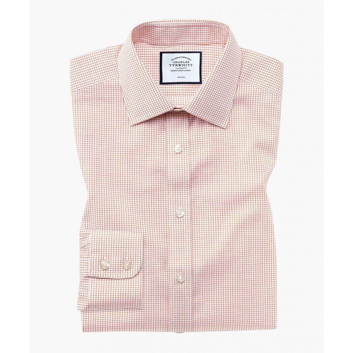 Image for Extra slim fit non-iron twill mini grid check orange shirt