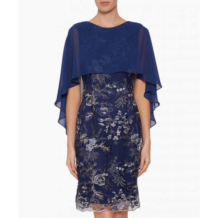 Image for Navy jodelle chiffon cape dress