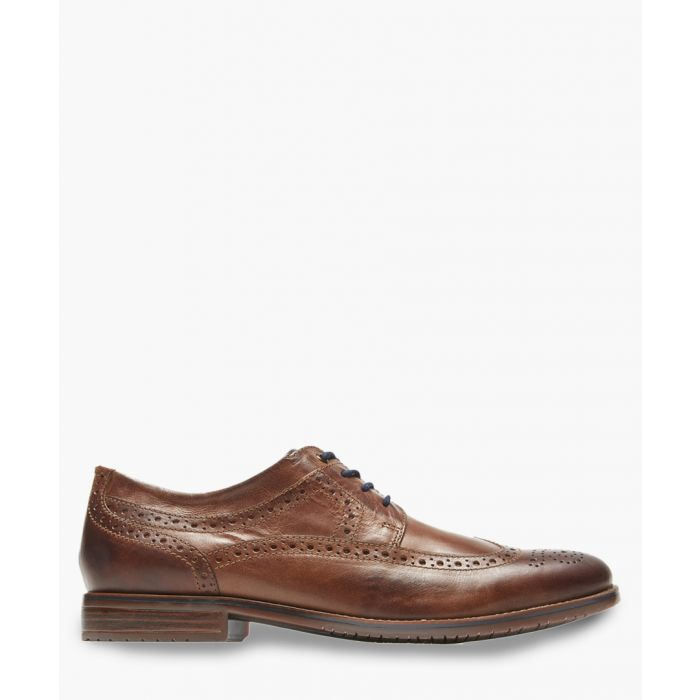 Image for Wingtip tan leather Oxford shoes
