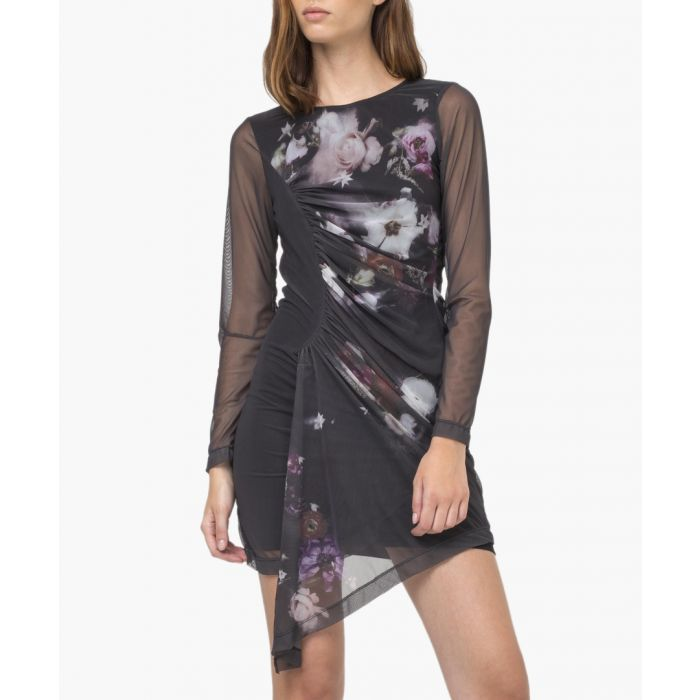 Image for Saturn black floral dress