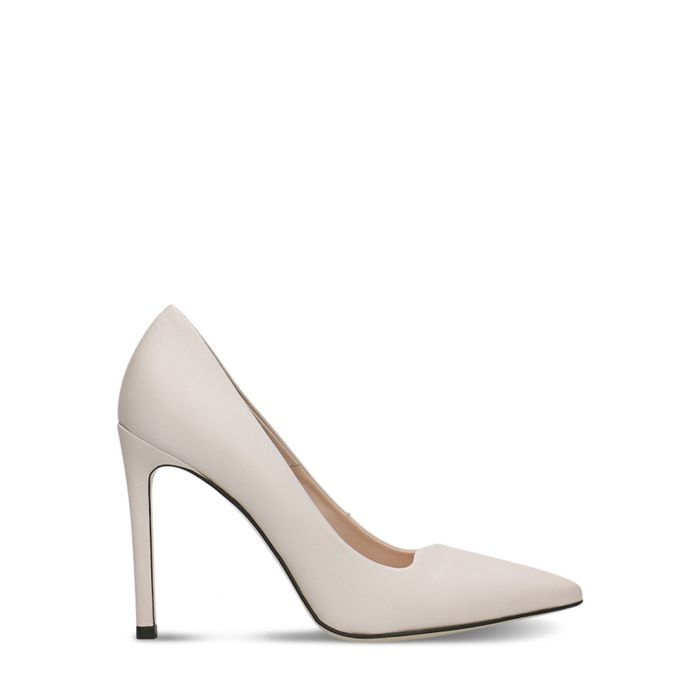 Image for White leather stiletto heels