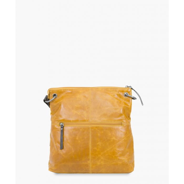 Image for Yellow and brown leather crossbody
