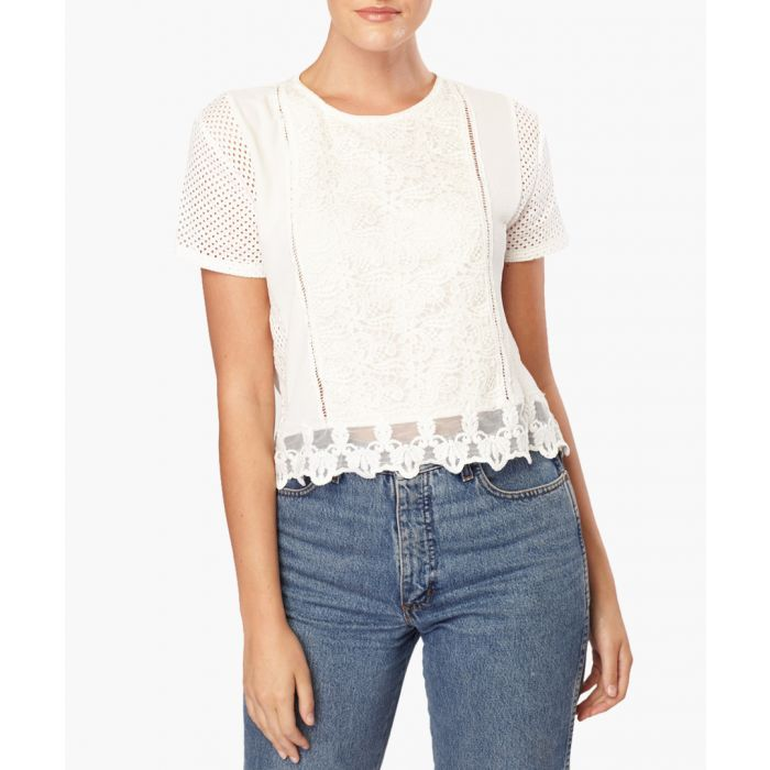Image for White light lace detail blouse
