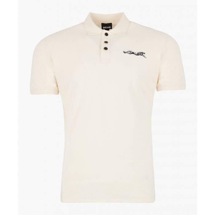 Image for White cotton embroidered logo polo shirt