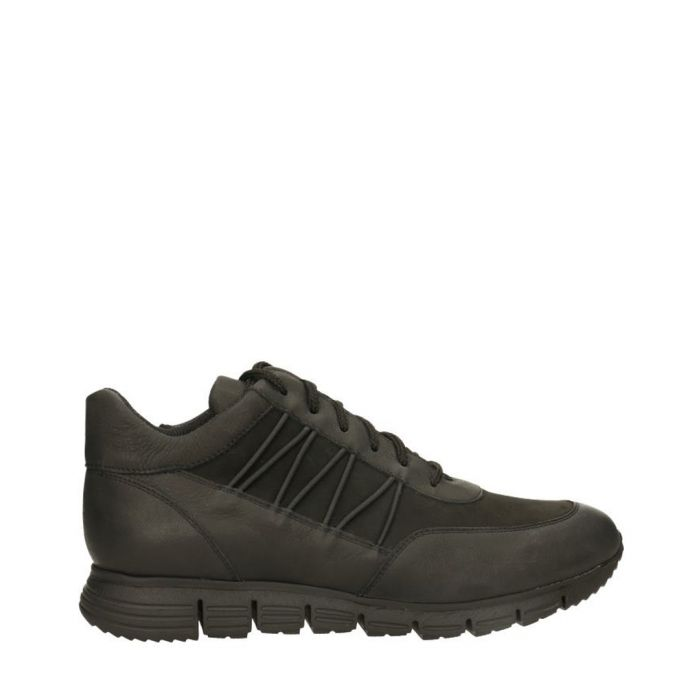 Image for Black leather tie-side trainers