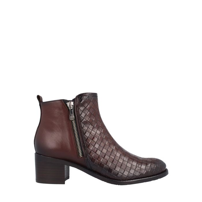 Image for Red leather weave-effect ankle boots