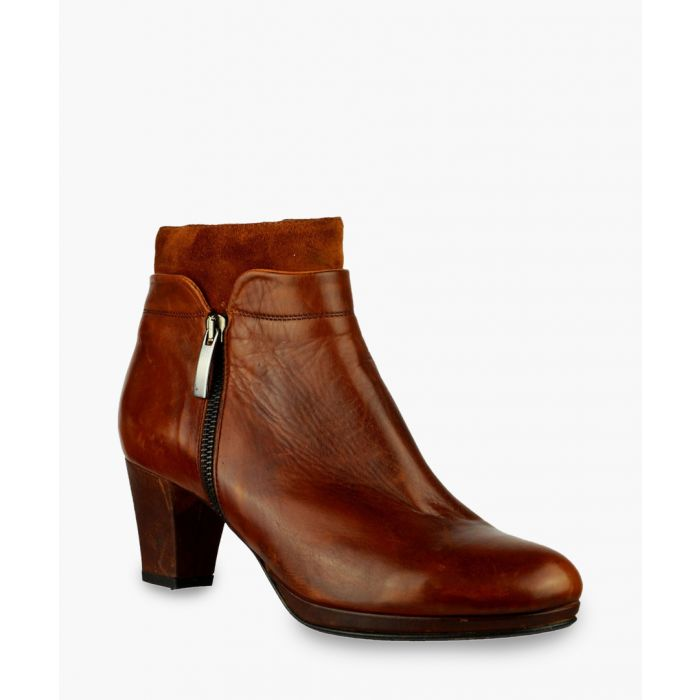 Image for Tan leather zip-up ankle boots