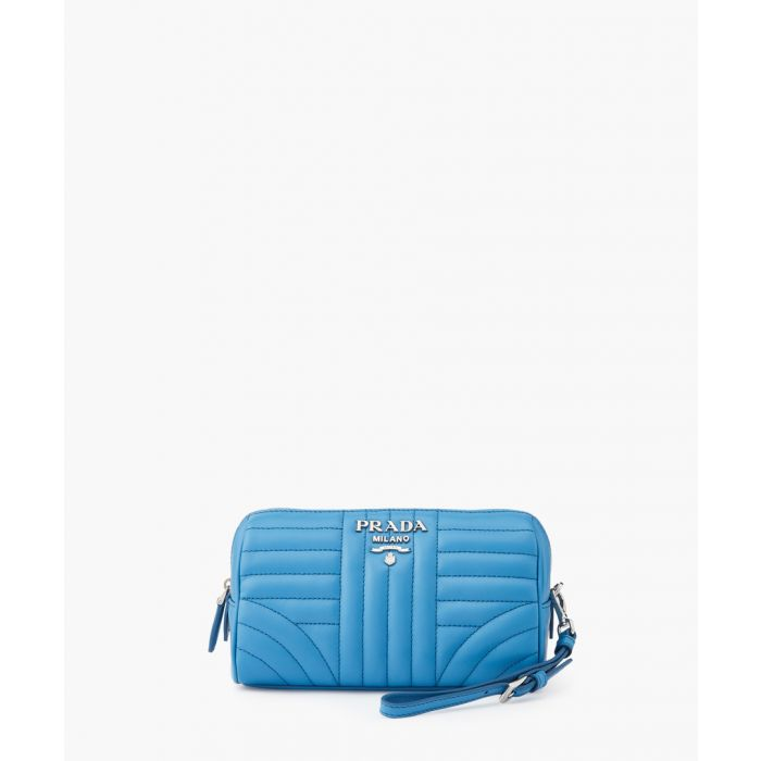 Image for Blue leather necessaire pouch bag