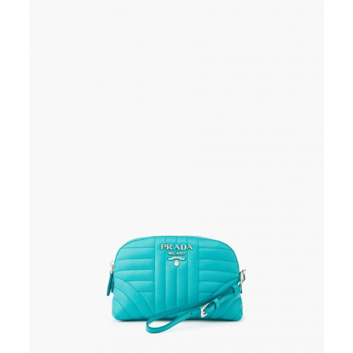 Image for Turquoise leather necessaire pouch bag