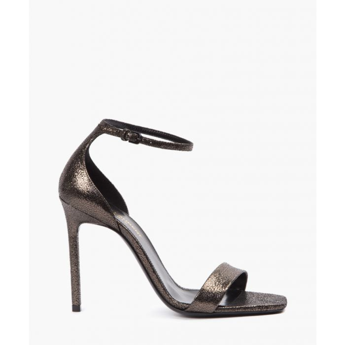 Image for Amber metallic black leather heels