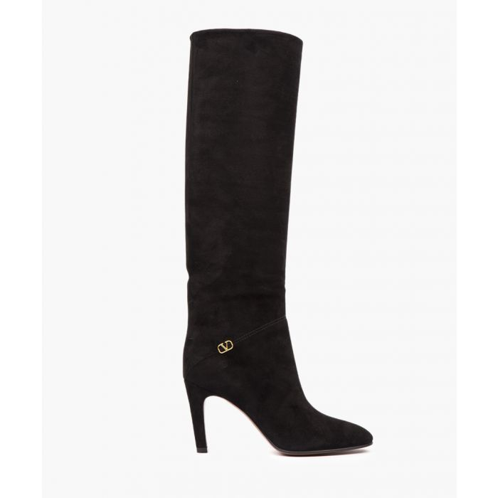 Image for Black suede knee-high boots