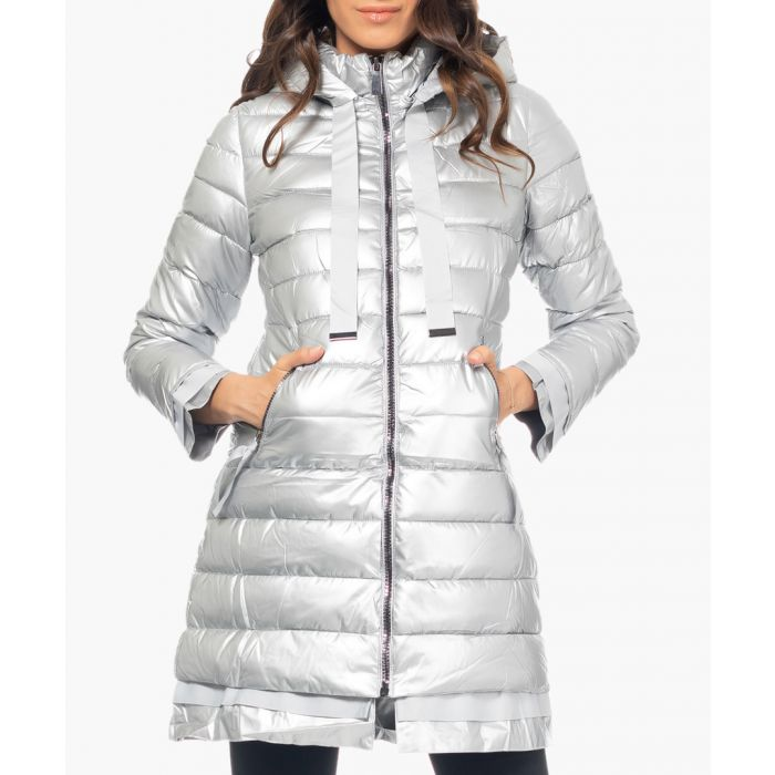Image for Silver-tone longline tie-up puffer coat